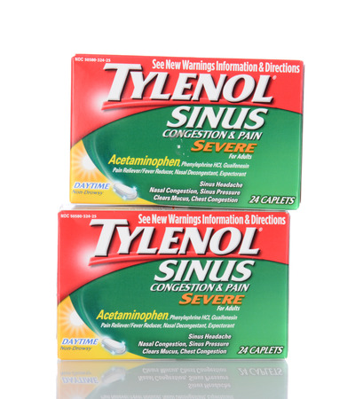 IRVINE, CA - January 05, 2014: Two boxes of 24 count Tylenol Sinus Daytime Caplets. Tylenol products are produced by McNeil Consumer Healthcare Division of McNEIL-PPC, Inc.