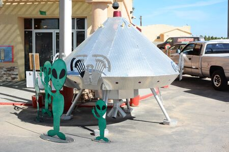 space ship: BAKER, CALIFORNIA  - July 12, 2014: Space Ship at the Alien Fresh Jerky Store, a tourist attraction just off the I 15 Highway, the main road to Las Vegas, Nevada.