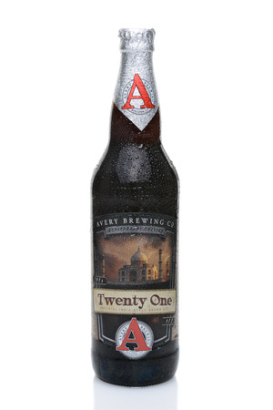 twenty one: IRVINE, CALIFORNIA - JULY 14, 2014: A 22 oz. bottle of Twenty One, an Imperial India Style Brown Ale from Avery Brewing Co. established in 1993 in Boulder, Colorado.