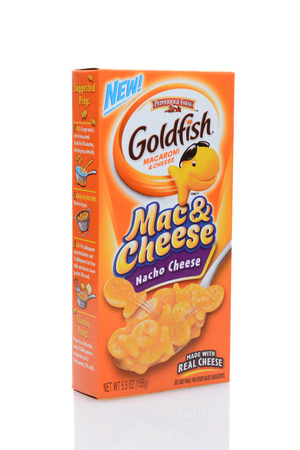 boxed: IRVINE, CALIFORNIA - JULY 14, 2014: A box of Goldfish Macaroni & Cheese. From the Pepperidge Farms the boxed meal features the iconic Goldfish shape from their familiar snack cracker.