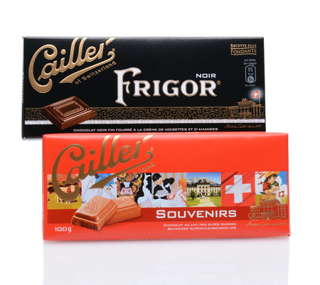 existence: IRVINE, CALIFORNIA - JULY 14, 2014: Two Cailler Chocolate Bars, the Frigor Noir and Souvenirs. Cailler is the oldest Swiss chocolate brand still in existence, and part of the Nestle Group. Editorial
