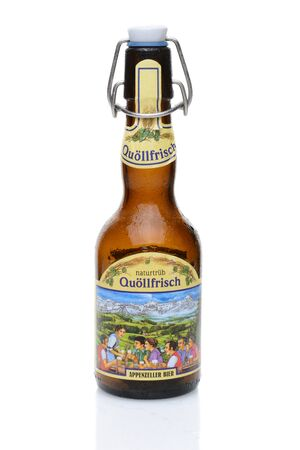 IRVINE, CALIFORNIA - JULY 14, 2014: A bottle Quollfrisch naturtrub brewed from Pilsner malt and three different varieties of hops. From the Locher AG brewery that was founded in 1886 in the town of Appenzell. Editorial