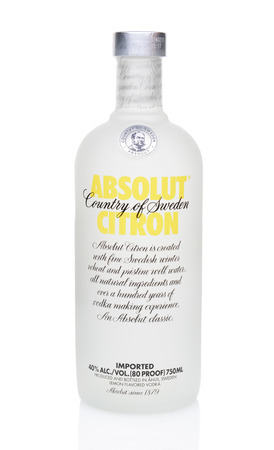 IRVINE, CALIFORNIA - JULY 16, 2014: A 750ml bottle of Absolut Citron Vodka. Absolut, produced in Sweden, is the third largest brand of alcoholic spirits in the world behind Bacardi and Smirnoff.