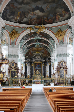 st gallen: ST. GALLEN, SWITZERLAND - JULY 10, 2014: The Abbey of Saint Gall. The Roman Catholic Cathedral, in existance since 719, has been a UNESCO World Heritage Site since 1983.