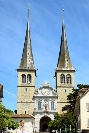 founded: LUCERN, SWITZERLAND - JULY 2, 2014: The Church of St. Leodegar, Lucern. St. Leodegar was founded in the mid-8th century, part of the monastery which in turn founded Lucern.