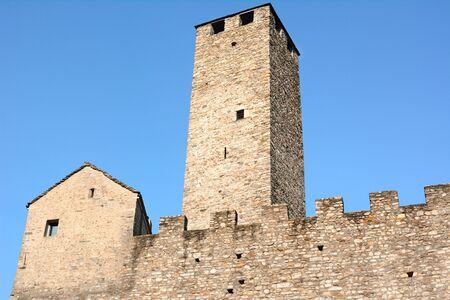 ramparts: BELLINZONA, SWITZERLAND - JULY 4, 2014  Torre Bianca  White Tower  and ramparts at Castelgrande, Bellinzona  Castelgrande is a UNESCO World Heritage Site since 1983   Editorial