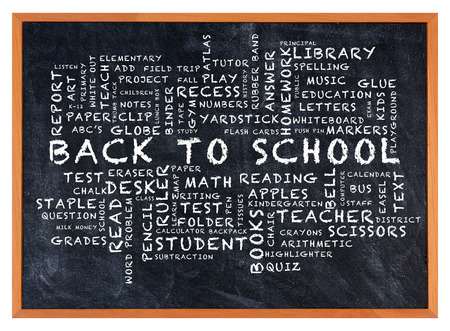 Back to School Word Cloud on chalkboard. The words Back to School are surrounded by other words relating to education for children.