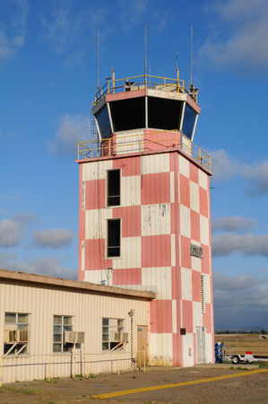 TUSTIN, CALIFORNIA - MAY 15, 2013: Control Tower at the former MCAS, Tustin, CA. Many of the building on the site are slated for preservation and the centerpiece of a new Regional Park.