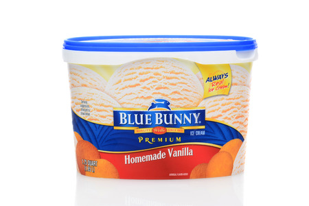 IRVINE, CA - SEPTEMBER 08, 2014: A 1.75 quart carton of Blue Bunny Homemade Vanilla Ice Cream. From Wells Enterprises, Inc. the largest family-owned ice cream manufacturer in the United States