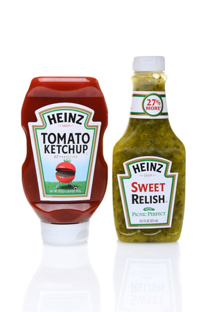 IRVINE, CA - SEPTEMBER 08, 2014: Bottles of Heinz Ketchup and Relish.  The H. J. Heinz Company manufactures thousands of food products is sold in over 200 countries.