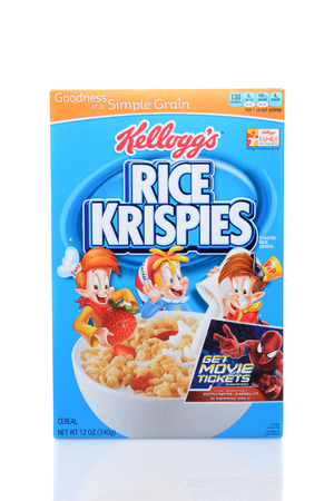 headquartered: IRVINE, CA - JUNE 23, 2014: A box of Kelloggs Rice Krispies Cereal. Headquartered in Battle Creek, Michigan, Kelloggs produces cereals, cookies, crackers, toaster pastries and cereal bars.