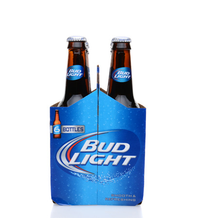 6 pack beer: IRVINE, CA - MAY 25, 2014: A 6 pack of Bud Light beer, end view. From Anheuser-Busch InBev, Bud Light is the number selling one domestic beer in the United States.