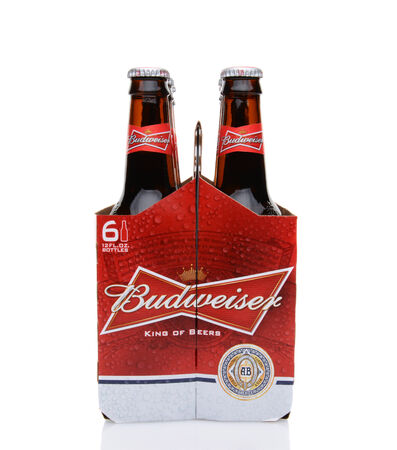 6 pack beer: IRVINE, CA - MAY 25, 2014: A 6 pack of Budweiser, end view. Introduced in 1876 by Adolphus Busch Bud has become one of the best selling beers in the United States. Editorial