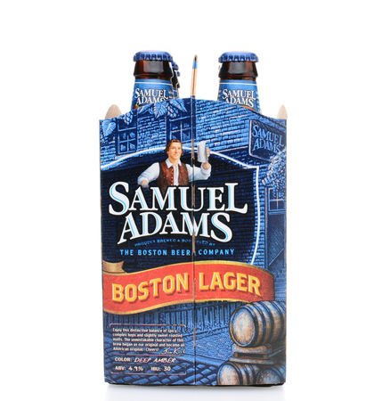 6 pack beer: IRVINE, CA - MAY 25, 2014: A 6 pack of Samuel Adams Boston Lager end view. Brewed by the Boston Beer Company one of the largest American-owned beermakers. Editorial
