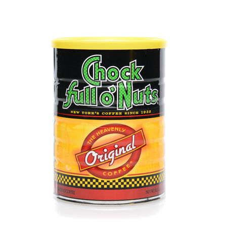 chock: IRVINE, CA - JUNE 23, 2014: A can of Chock Full O Nuts Coffee. The chain was founded by William Black 1926, an immigrant who sold nuts in Times Square to theater goers. Editorial