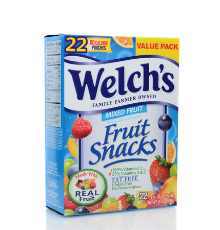 IRVINE, CA - JUNE 23, 2014: A box of Welchs Fruit Snacks. From The Promotion In Motion Companies, Inc. (PIM), is one of the leading manufacturers of popular brand name confections.