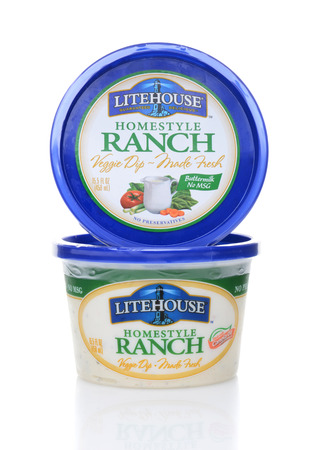 IRVINE, CA - JUNE 23, 2014: Two Containers of Lighthouse Homestyle Ranch Dip. Lighthouse produces over 40 flavors of dressings, dips, marinades, salsas and fresh herbs.