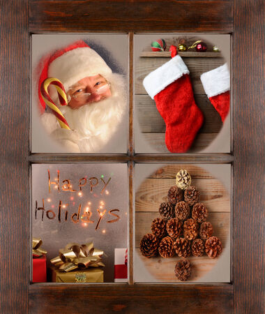 bow window: Four Christmas scenes in the frosted panes of a window. Santa Claus, Christmas Stockings, Happy Holidays, and Pine cone tree shape in a rustic wood window frame.