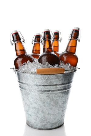 Closeup of a party bucket filled with ice and 5 brown swing top old fashioned beer bottles. Vertical format on white with reflection.