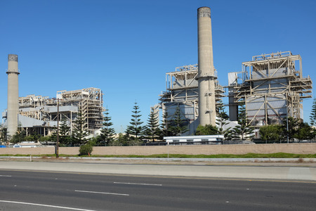 huntington beach: HUNTINGTON BEACH, CA - NOVEMBER 6, 2014: The AES Power Plant on Pacific Coast Highway. The natural gas plant produces electricity for more than 40,000 homes.