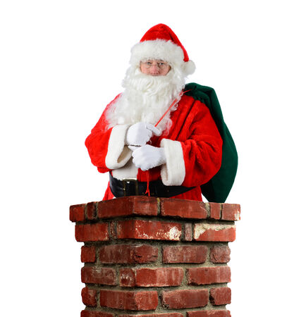 st nick: Closeup of Santa Claus inside a brick chimney with his bag of toys flung over his shoulder. Vertical format on a white background.