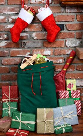 Santa Claus Bag on Hearth photo