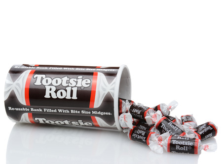 california roll: IRVINE, CALIFORNIA - DECEMBER 12, 2014: A box of Tootsie Roll Midgee Candy. Tootsie Roll Industries is one of the largest candy manufacturers in the world, making than 64 million Tootsie Rolls daily. Editorial