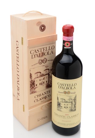 liter: IRVINE, CA - DECEMBER 29, 2014: A 3 liter bottle of Castello D Albola Chianti Classico. The Italian estate has over 150 hectares of vineyard and over 4000 olive trees. Editorial
