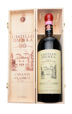 liter: IRVINE, CA - DECEMBER 29, 2014: A 3 liter bottle of Castello D Albola Chianti Classico in wooden crate. The Italian estate has over 150 hectares of vineyard and over 4000 olive trees.