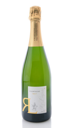 champagne region: IRVINE, CA - DECEMBER 29, 2014: A bottle of R&L Legras Brut Champagne. The Legras Vineyards have been in operation since 1808 in the Cote de Blancs region of Champagne, France. Editorial