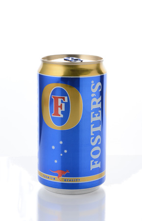 domestically: IRVINE, CA - JANUARY, 11, 2015: A single 750ml can of Fosters Lager. The brand has more international recognition outside of Australia than it does domestically. Editorial
