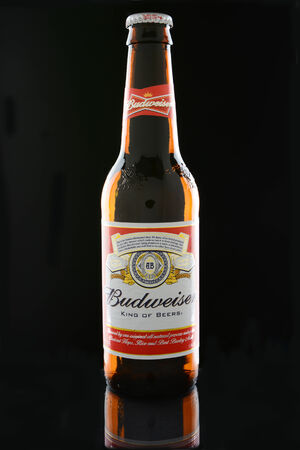 budweiser: IRVINE, CA - JANUARY 12, 2015: A bottle of Budweiser on a black . Budweiser is one of the most popular domestic brands in the United States.