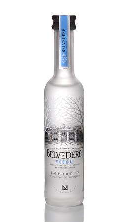 botella de licor: IRVINE, CA - 15 de enero de 2015: Una botella de Vodka Belvedere. La marca fue lanzada en Estados Unidos en 1996 como un licor lujo como el primer 'vodka super premium' del mundo.
