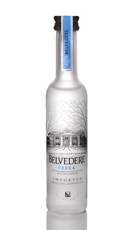 IRVINE, CA - JANUARY 15, 2015: A bottle of Belvedere Vodka. The brand was launched in the United States in 1996 as a luxury liquor as the worlds first 'super premium vodka. Editorial