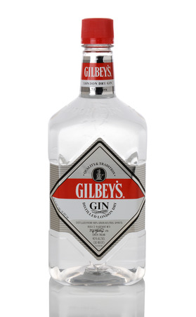 liter: IRVINE, CA - JANUARY 15, 2015: A 1.75 liter bottle Gilbeys London Dry Gin. Gilbeys is distilled from 100% grain neutral spirits.