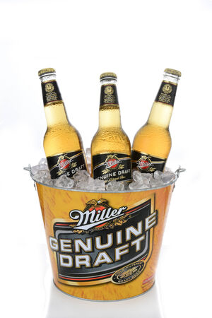 exception: IRVINE, CA - JANUARY 15, 2015: A branded ice bucket of Miller Genuine Draft Beer. MGD is actually made from the same recipe as Miller High Life with the exception that MGD is cold filtered.