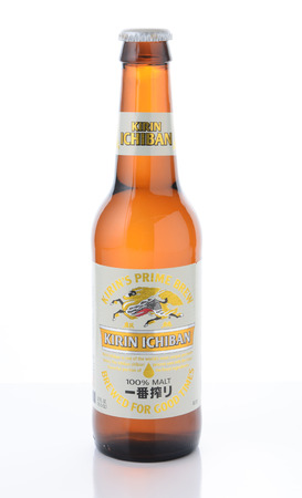 IRVINE, CA - JANUARY 11, 2015: A bottle of Kirin Ichiban Isolated on white. Kirin is a popular brand of Japanese beer imported into the United States.