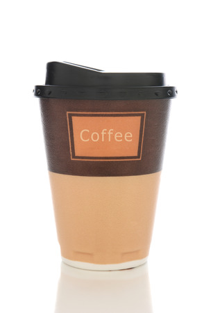 Closeup of a styrofoam coffee cup with lid isolated on white with reflection.