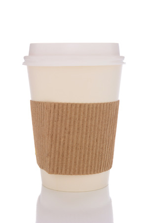 reusable: Disposable coffee cup with protective sleeve isolated on white with reflection.