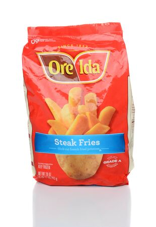 IRVINE, CA - JANUARY 28, 2015: A 28oz package of Ore-Ida Steak Fries. Ore-Idas primary production facility is located in Ontario, Oregon.