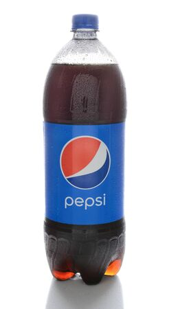 IRVINE, CA - FEBRUARY 7, 2015: A bottle of Pepsi. Pepsi is a carbonated drink first introduced in 1893 as Brads Drink and renamed to Pepsi-Cola in 1898 and shortened to Pepsi in 1961.