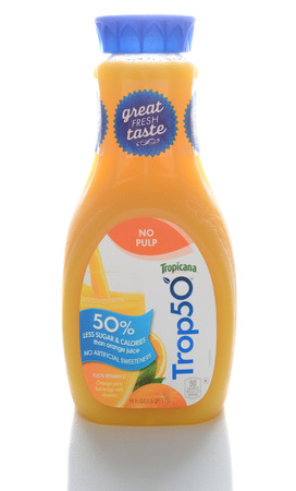 tropicana: IRVINE, CA - FEBRUARY 7, 2015: A bottle of Trop50. From Tropicana Products, Trop50 is a reduced calorie orange juice with no added sugars and added vitamins.