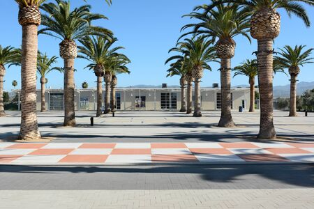 ca: IRVINE, CA - FEBRUARY 10, 2015: The Great Park Palm Court and Arts Building. The Palm Court serves as the Parks cultural campus housing the Great Park Gallery and Great Park Artists Studios.