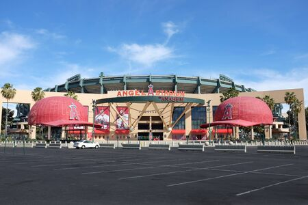 the a lot of: ANAHEIM, CA - FEBRUARY 11, 2015: Angel Stadium of Anaheim main entrance. Angel Stadium of Anaheim is the Major League Baseball (MLB) home home field of the Los Angeles Angels of Anaheim.