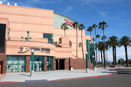 ANAHEIM, CA - FEBRUARY 11, 2015: The Honda Center Team Store.The arena is home to the Anaheim Ducks of the National Hockey League and the Los Angeles Kiss of the Arena Football League. Editorial