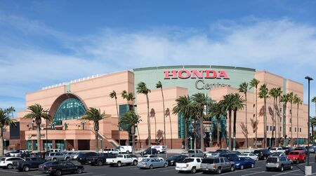 orange county: ANAHEIM, CA, FEBRUARY 11, 2015: The Honda Center in Anaheim, California. The arena is home to the Anaheim Ducks of the National Hockey League and the Los Angeles Kiss of the Arena Football League.