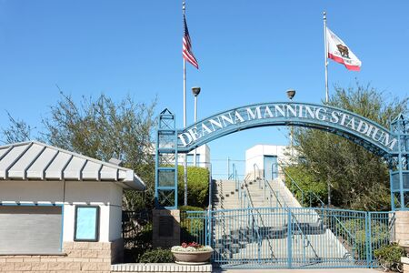 colonel: IRVINE, CA - FEBRUARY 12, 2015: Deanna Manning Stadium main entrance. The stadium and its three satellite softball fields are part of the Colonel Bill Barber Marine Corps Memorial Park, Irvine, Ca.