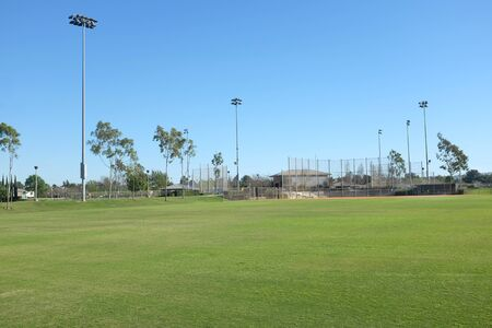 colonel: IRVINE, CA - FEBRUARY 12, 2015: Sports fields at Colonel Bill Barber Marine Corps Memorial Park, Irvine, Ca. The park features multi-use lighted athletic fields.