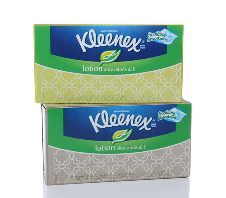 IRVINE, CA - FEBRUARY 19, 2015: Kleenex Tissues with Lotion.  Kleenex is a trademark of Kimberly-Clark Worldwide, Inc. They make a variety of paper products under the brand.