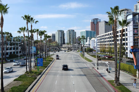 ca: LONG BEACH, CA - FEBRUARY 21, 2015: Shoreline Drive, Long Beach. Once a year the city street is part of the course for the Toyota Grand Prix of Long Beach auto race.